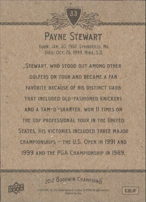 2012 Upper Deck Goodwin Champions #33 Payne Stewart back image