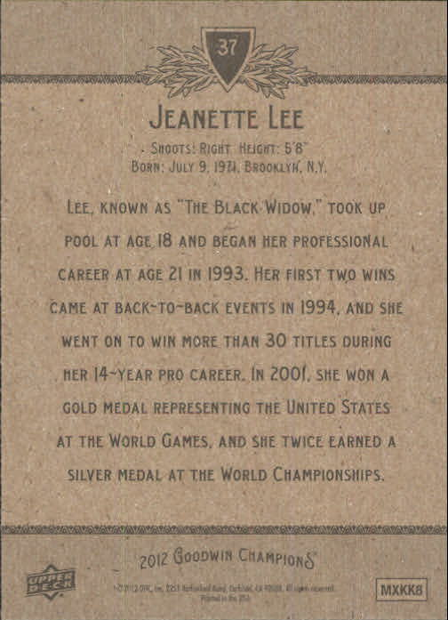 2012 Upper Deck Goodwin Champions #37 Jeanette Lee back image