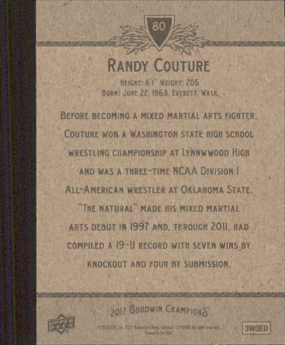 2012 Upper Deck Goodwin Champions #80 Randy Couture back image
