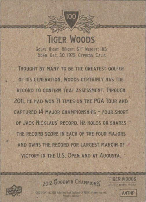 2012 Upper Deck Goodwin Champions #100 Tiger Woods back image