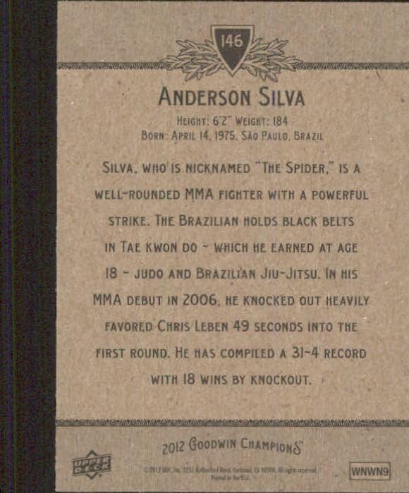 2012 Upper Deck Goodwin Champions #146 Anderson Silva back image