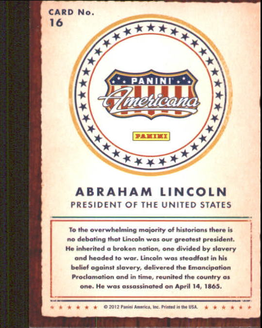 2012 Americana Heroes and Legends #16 Abraham Lincoln back image