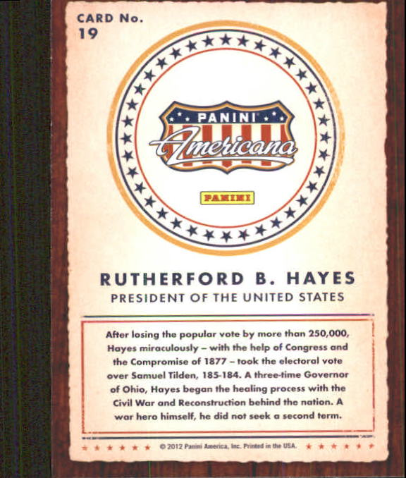 2012 Americana Heroes and Legends #19 Rutherford B. Hayes back image