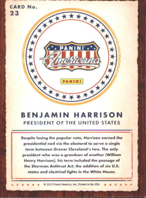 2012 Americana Heroes and Legends #23 Benjamin Harrison back image