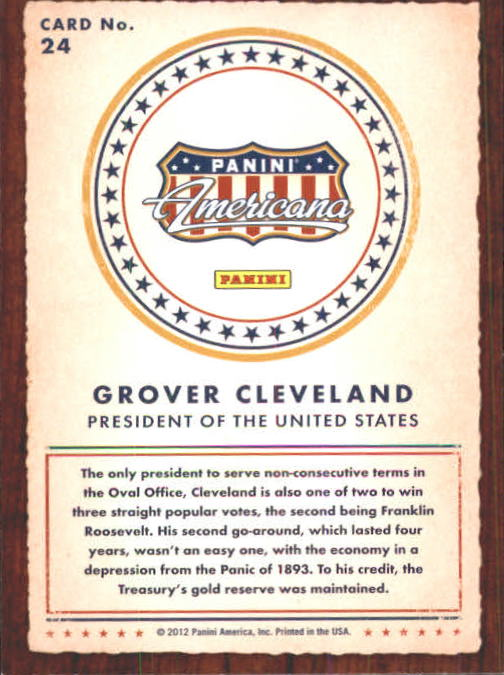 2012 Americana Heroes and Legends #24 Grover Cleveland back image