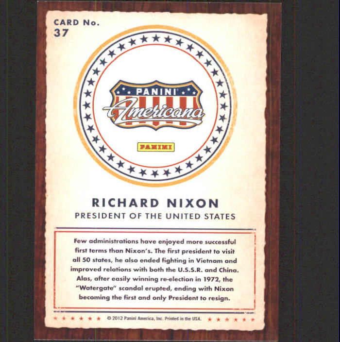 2012 Americana Heroes and Legends #37 Richard Nixon back image