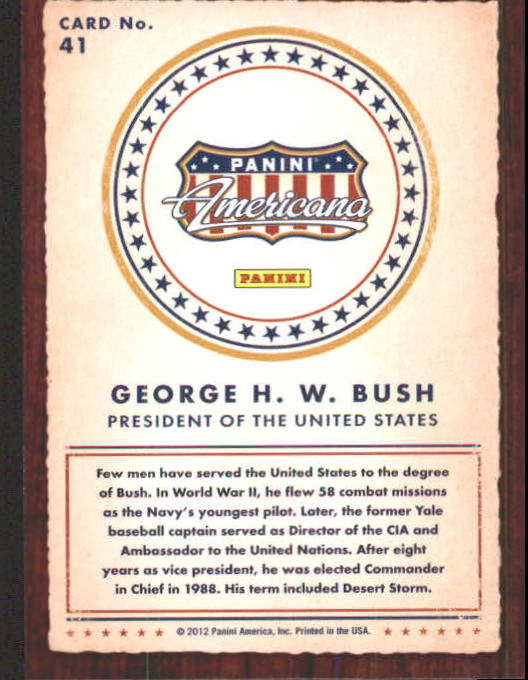 2012 Americana Heroes and Legends #41 George H. W. Bush back image