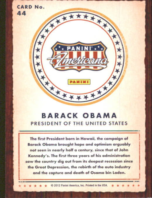 2012 Americana Heroes and Legends #44 Barack Obama back image