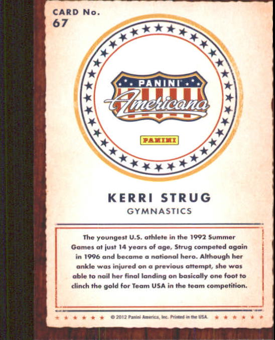 2012 Americana Heroes and Legends #67 Kerri Strug back image