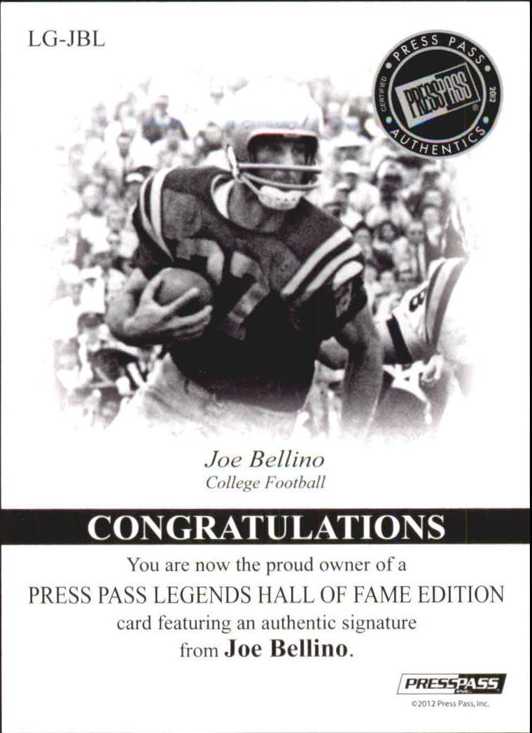2012 Press Pass Legends Hall of Fame Red #LGJB Joe Bellino/50 back image