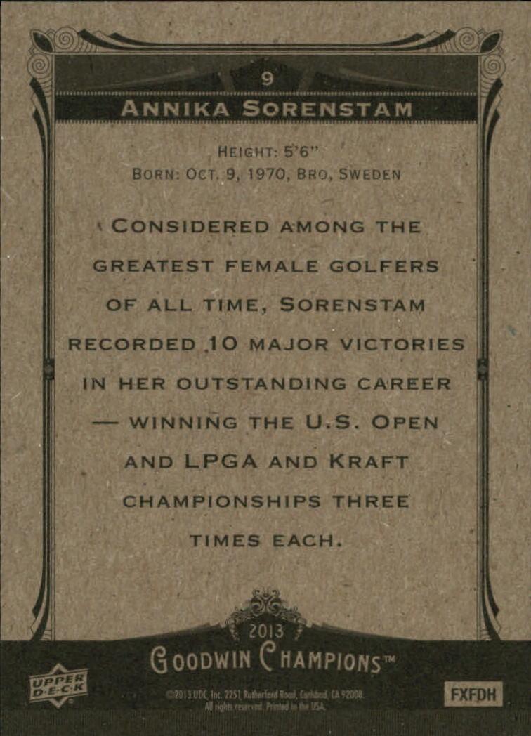 2013 Upper Deck Goodwin Champions #9 Annika Sorenstam back image