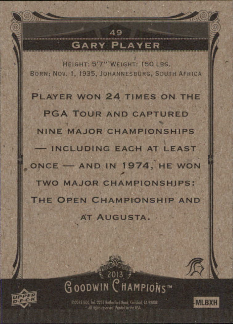 2013 Upper Deck Goodwin Champions #49 Gary Player back image