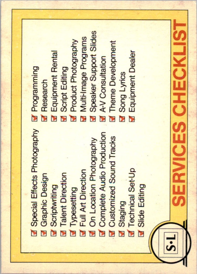 1982 Big Shew Complete Series #14 Services Checklist