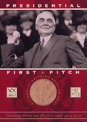 2002 Topps American Pie First Pitch Seat Relics #WH Warren Harding