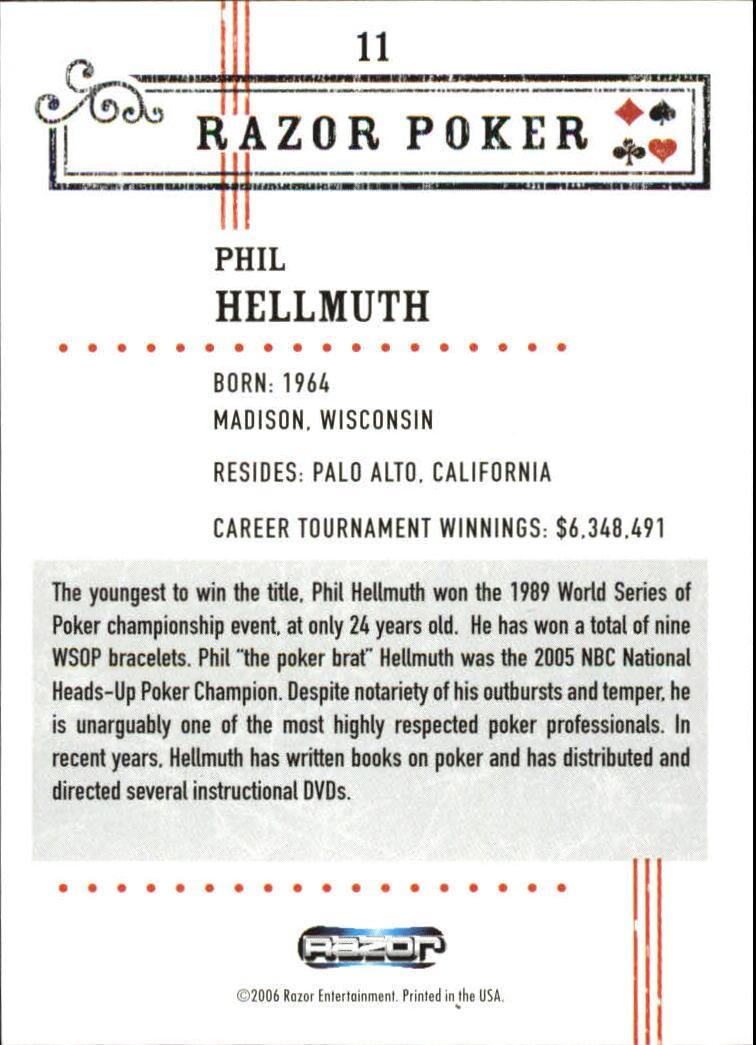 2006 Razor Poker #11 Phil Hellmuth back image