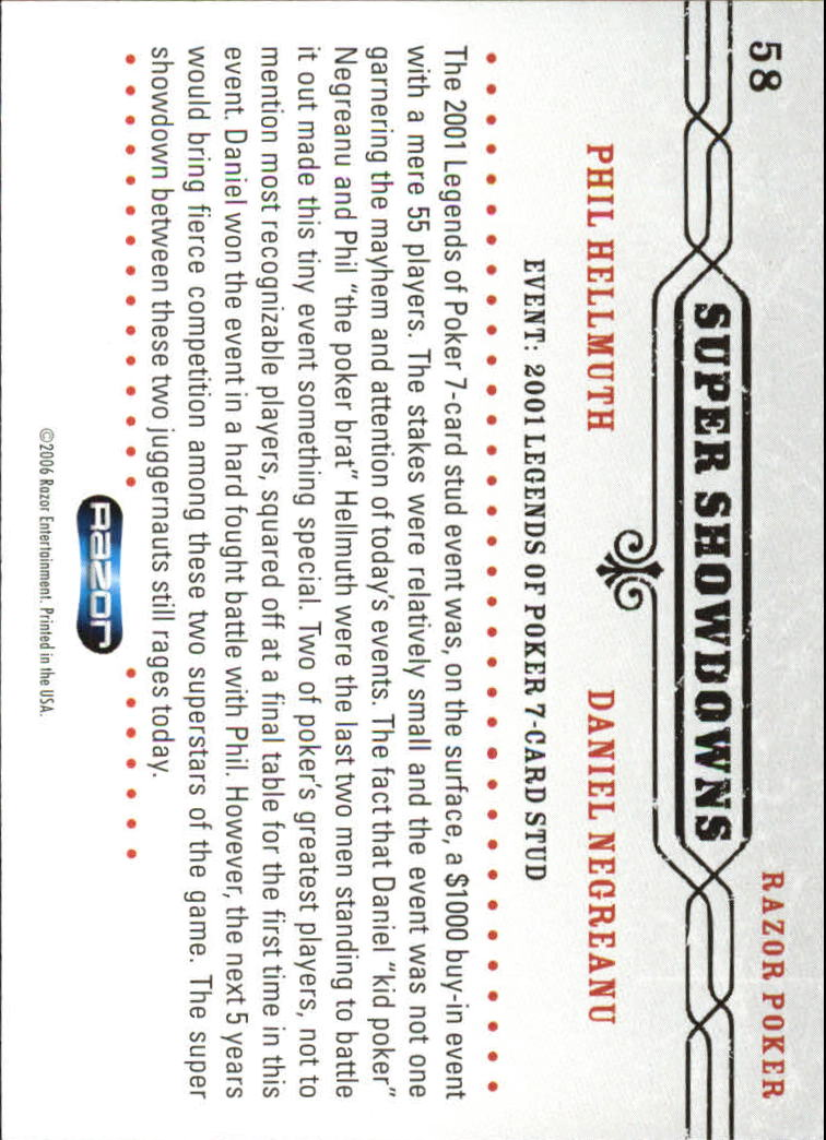 2006 Razor Poker #58 Phil Hellmuth/Daniel Negreanu back image