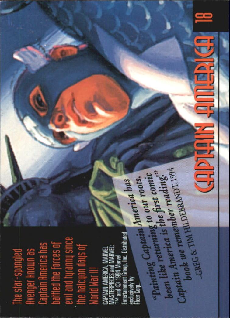 1994 Marvel Masterpieces #18 Captain America back image
