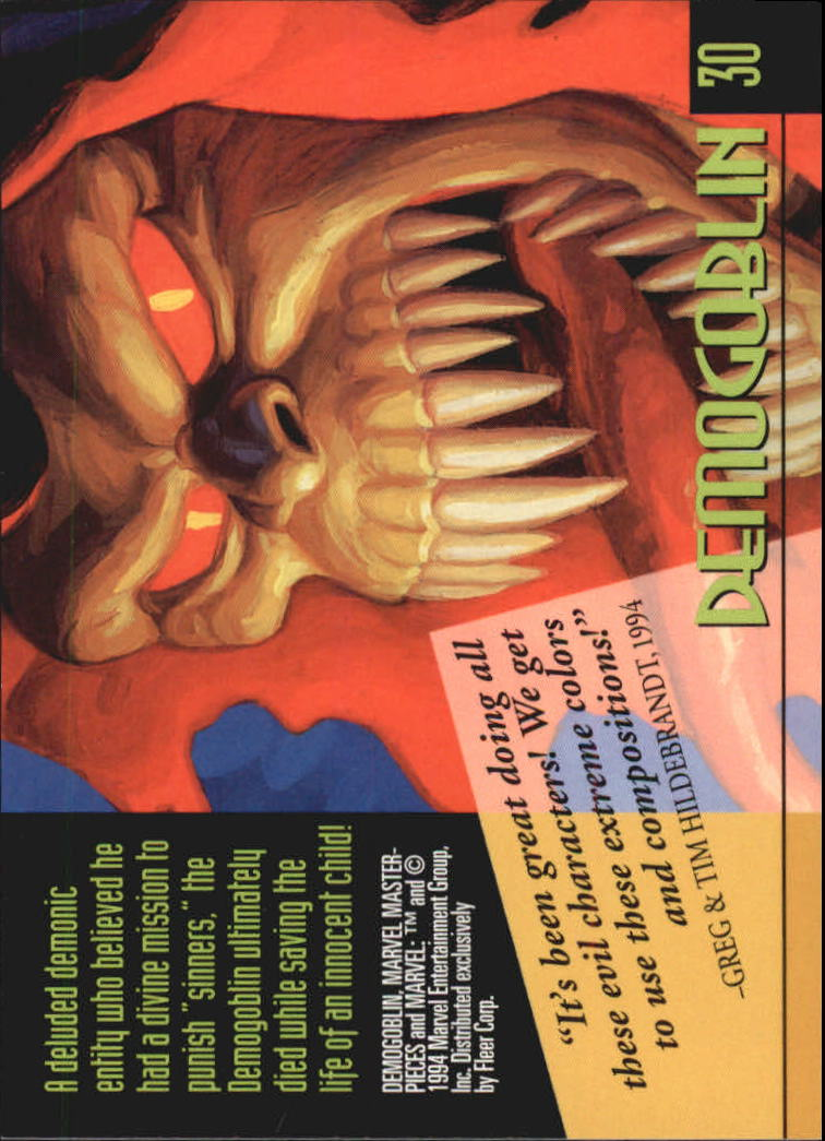 1994 Marvel Masterpieces #30 Demogoblin back image