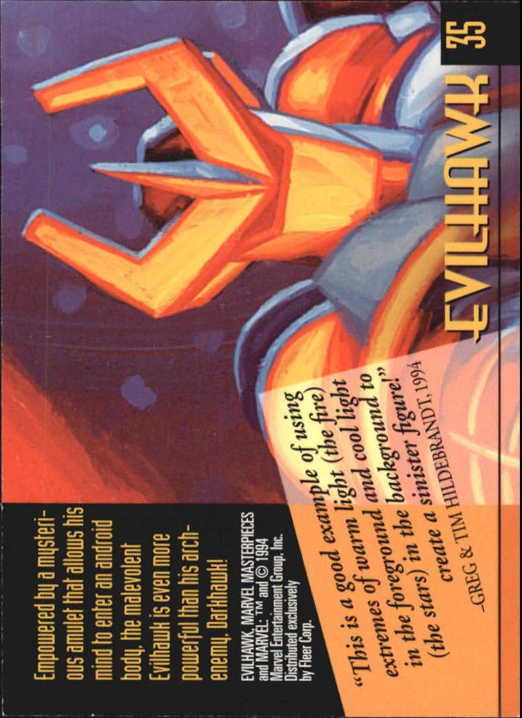 1994 Marvel Masterpieces #35 Evilhawk back image