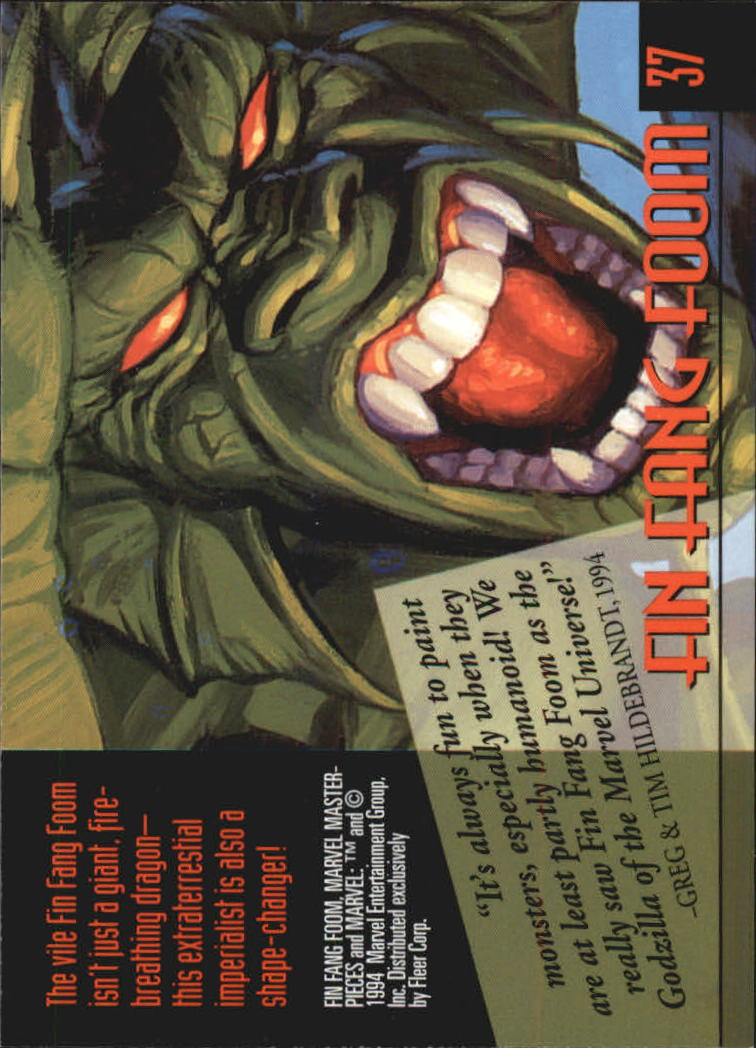 1994 Marvel Masterpieces #37 Fin Fang Foom back image