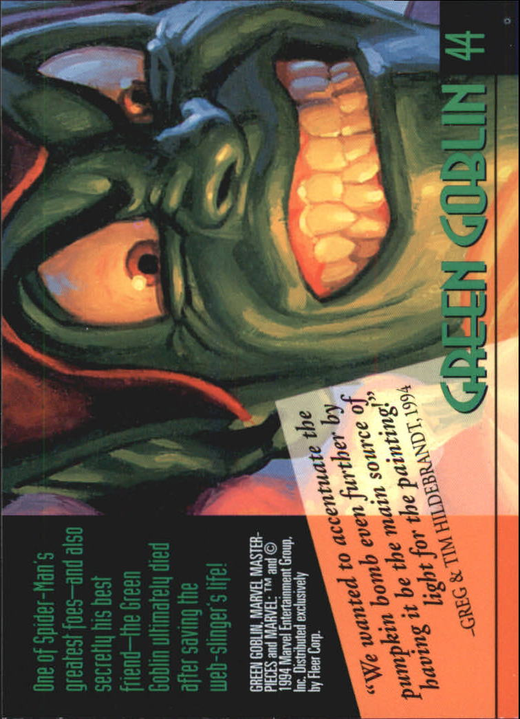 1994 Marvel Masterpieces #44 Green Goblin back image