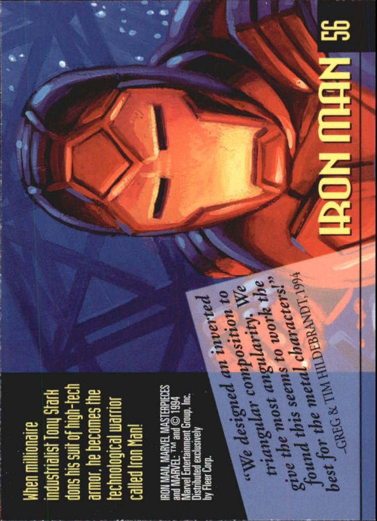 1994 Marvel Masterpieces #56 Iron Man back image