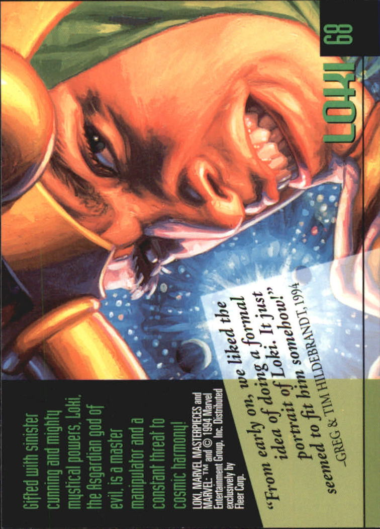 1994 Marvel Masterpieces #68 Loki back image