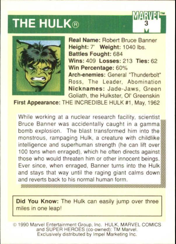 1990 Marvel Universe I #3 Hulk back image