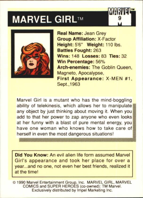 1990 Marvel Universe I #9 Marvel Girl back image