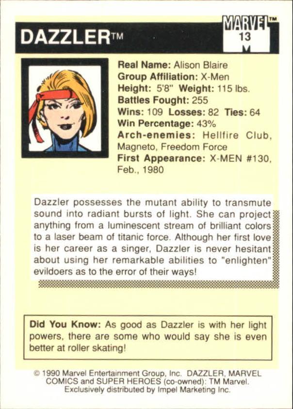 1990 Marvel Universe I #13 Dazzler back image