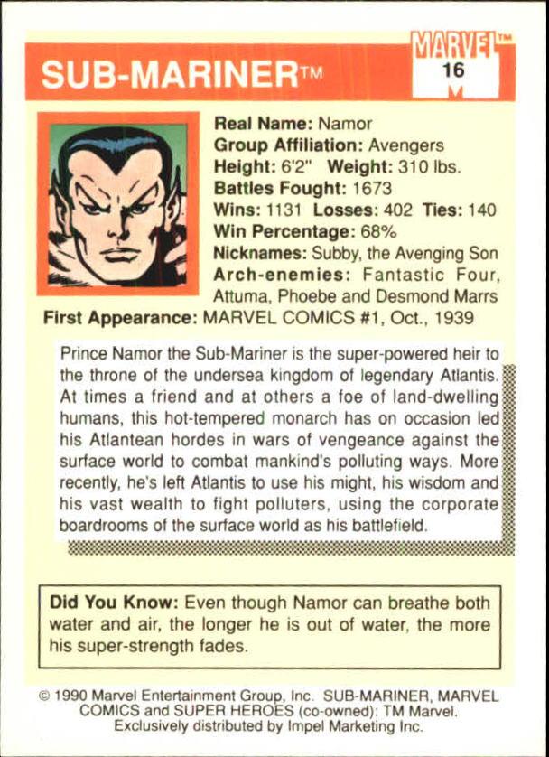 1990 Marvel Universe I #16 Sub-Mariner back image