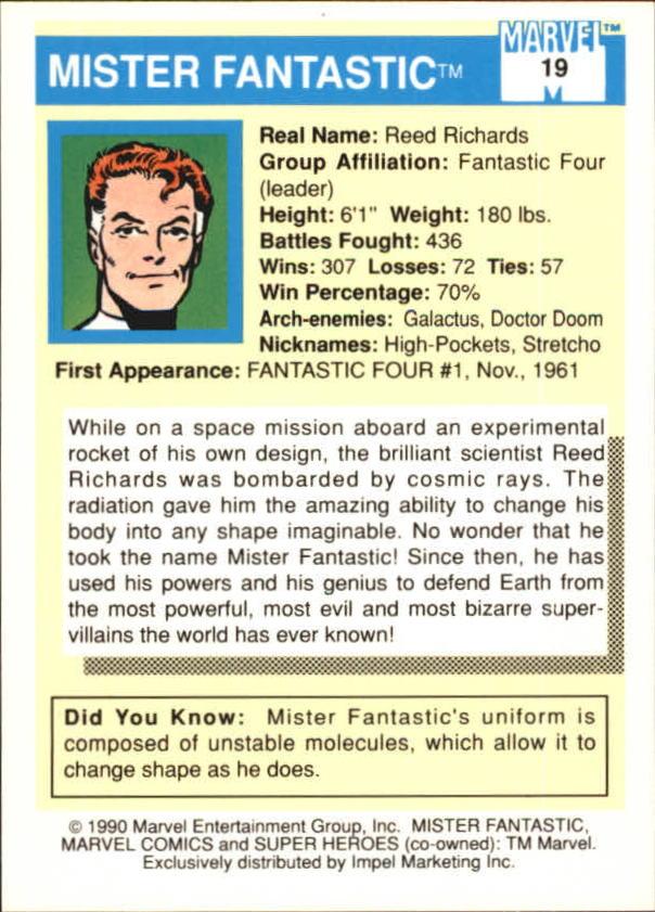 1990 Marvel Universe I #19 Mister Fantastic back image