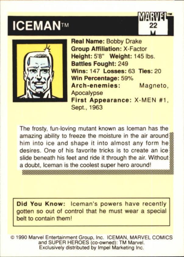 1990 Marvel Universe I #22 Iceman back image