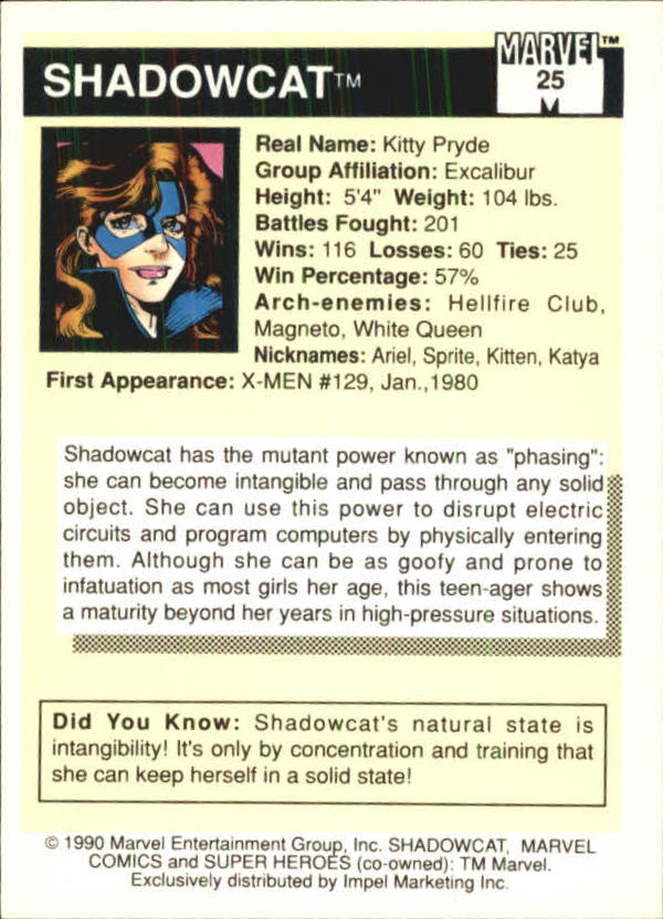 1990 Marvel Universe I #25 Shadowcat back image