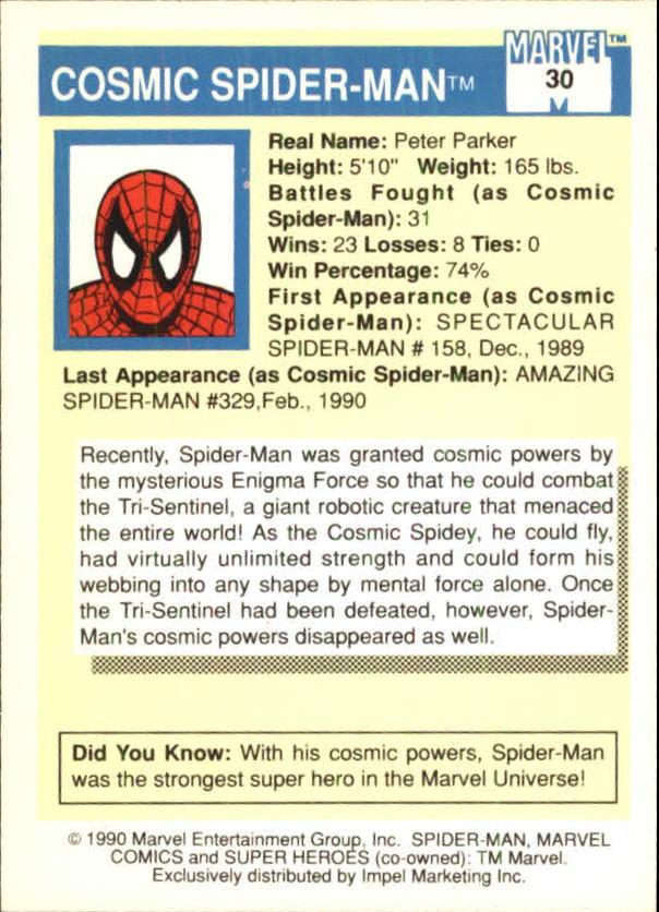1990 Marvel Universe I #30 Spider-Man back image