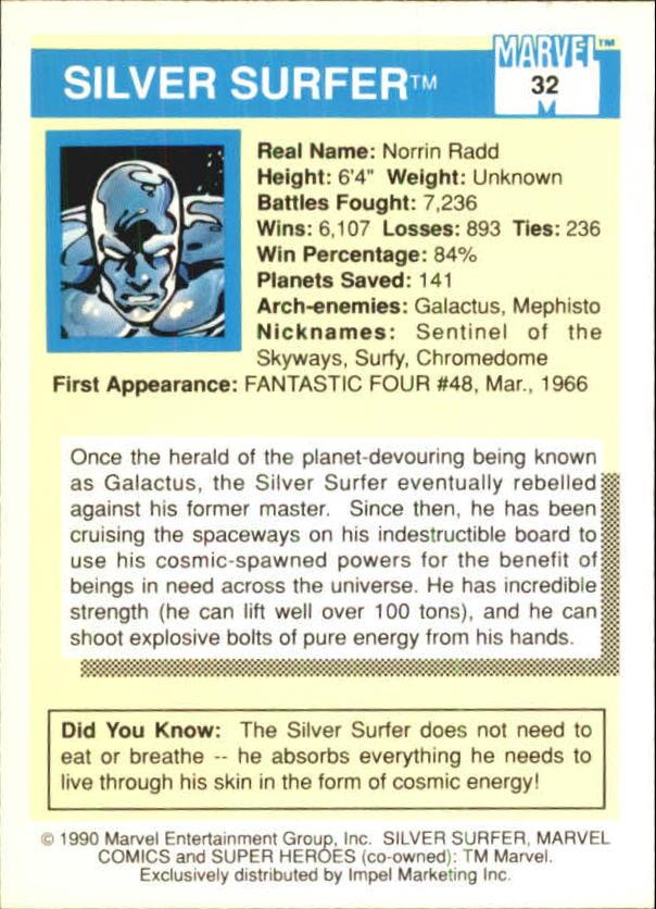 1990 Marvel Universe I #32 Silver Surfer back image