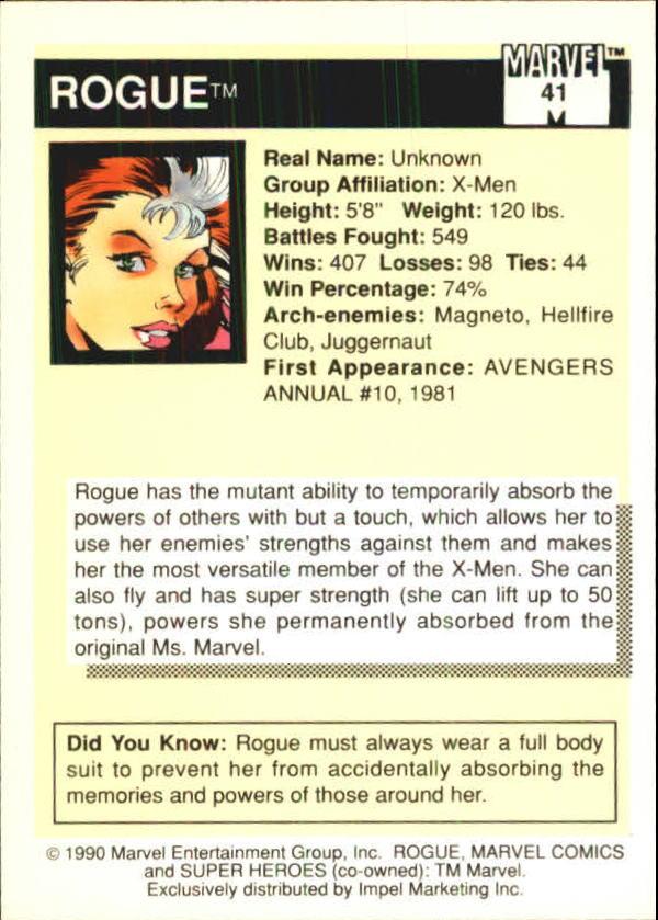 1990 Marvel Universe I #41 Rogue back image