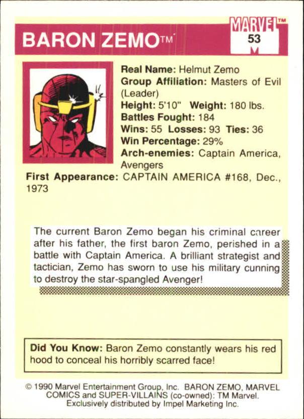 1990 Marvel Universe I #53 Baron Zemo back image