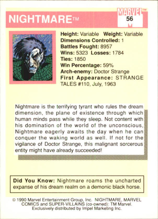1990 Marvel Universe I #56 Nightmare back image