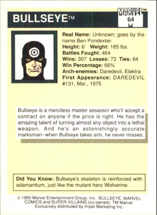 1990 Marvel Universe I #64 Bullseye back image