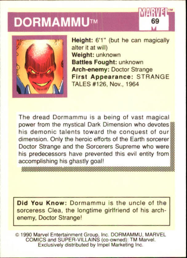 1990 Marvel Universe I #69 Dormammu back image