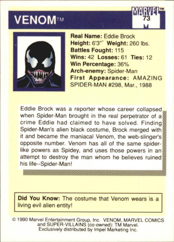 1990 Marvel Universe I #73 Venom back image