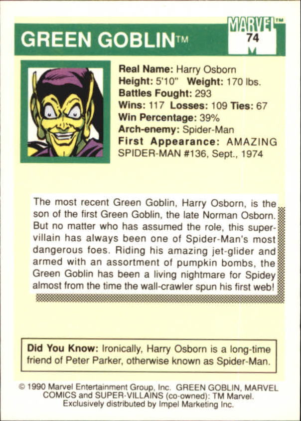 1990 Marvel Universe I #74 Green Goblin back image