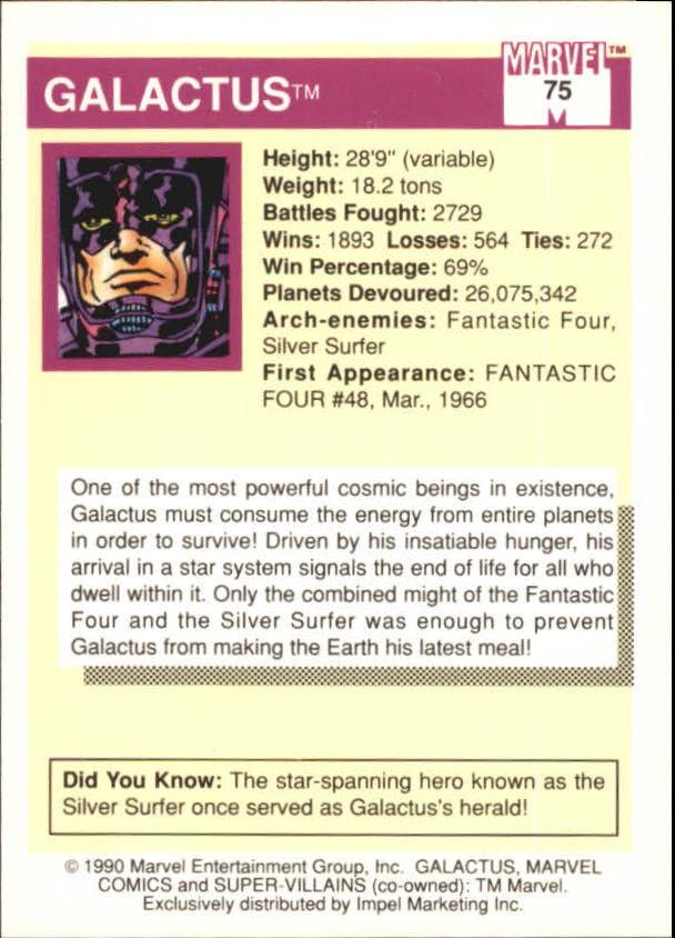 1990 Marvel Universe I #75 Galactus back image