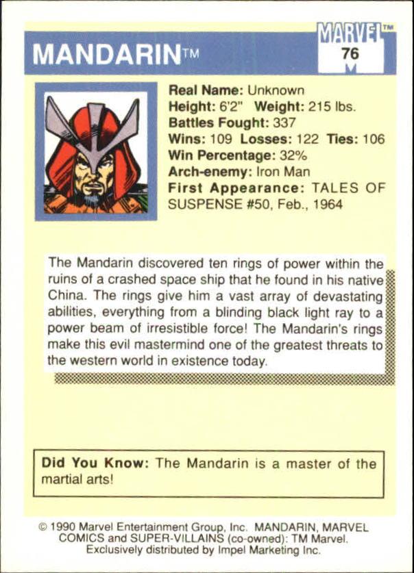 1990 Marvel Universe I #76 Mandarin back image