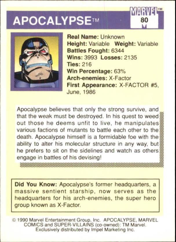 1990 Marvel Universe I #80 Apocalypse back image