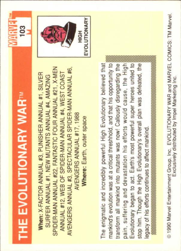 1990 Marvel Universe I #103 Evolutionary War back image