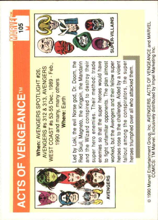 1990 Marvel Universe I #105 Acts of Vengeance back image
