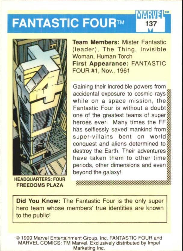 1990 Marvel Universe I #137 Fantastic Four back image