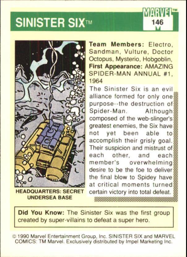 1990 Marvel Universe I #146 Sinister Six back image